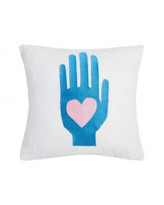 Heart Hand Embroidered Decorative Throw Pillow - LOW STOCK