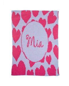 Personalized Hearts Blanket - Variety of Colors Available