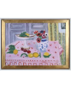 Henri Matisse Reproduction Pink Tablecloth With Fruit and Flowers in Gold Frame