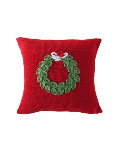 Holiday Wreath Pillow with Texture in Red - ON BACKORDER UNTIL JANUARY 2021
