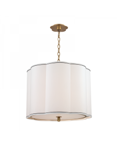 Hudson Valley Lighting Medium Sweeny Four Light Hanging Navy Pinstripe Scalloped Pendant - Available in 2 Finishes