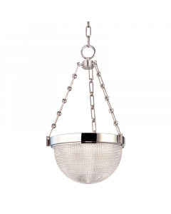 Hudson Valley Lighting Medium Winfield Semi Flush Ceiling Mount with Prismatic Glass Dome Shade  Available in Four Finishes