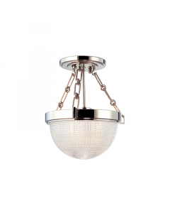 Hudson Valley Lighting Small Winfield Semi Flush Ceiling Mount with Prismatic Glass Dome Shade  Available in Four Finishes