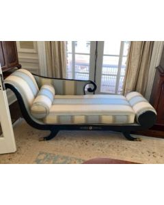 Antique: 19th Century English Regency Antique Recamier Chaise Lounge in Colefax & Fowler Fabric