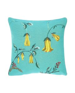 BARGAIN BASEMENT ITEM: Yellow Flowers on Turquoise Decorative Square Pillow - IN STOCK IN GREENWICH FOR QUICK SHIP