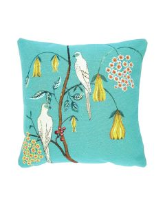 BARGAIN BASEMENT ITEM: Turquoise Bird & Flowers Tapestry Decorative Pillow - IN STOCK IN GREENWICH FOR QUICK SHIP