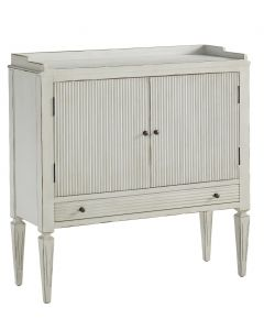 Ivory Ribbed Front Two Door Cabinet With Drawer