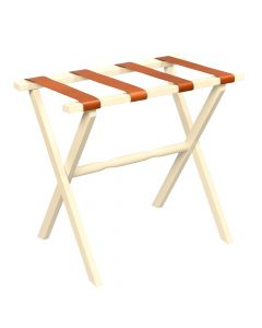 Ivory Straight Leg Wood Luggage Rack with 4 Tan Leather Straps