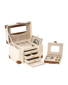 Ivory Leather 4 Level Jewelry Box with 3 Drawers and Removable Travel Case