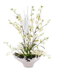 Cherry Blossoms Floral Arrangement in a Silver Urn - LOW STOCK
