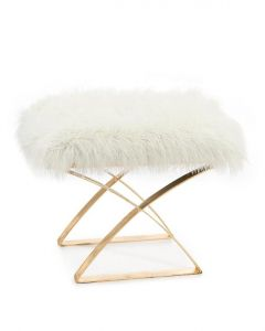 Imperial Gold Leaf Ottoman With White Fur Seat