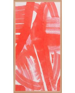 Jyrinki Coral & White Abstract Reproduction Wall Art in Raw Wood Moulding