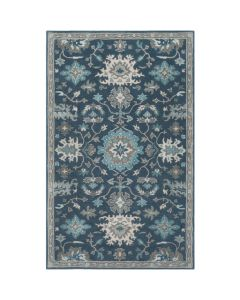 Kayleigh Large Teal and Grey Floral Wool Area Rug - Available in a Variety of Sizes