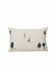 Kids at the Park Ivory Decorative Throw Pillow