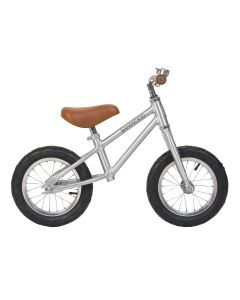 Vintage Style Toddler Balance Bike With Basket in Chrome- Optional Matching Bike Helmet Available - LOW STOCK