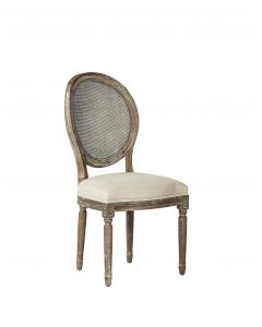King Louis Oak Dining Side Chair With Linen Seat