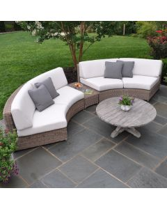 Kingsley Bate Sag Harbor Sectional Curved Armless Settee - ON BACKORDER UNTIL MARCH 2022