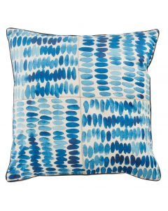 Blue Splash Decorative Square Throw Pillow with Zig Zag Stich and Charcoal Micro Cord