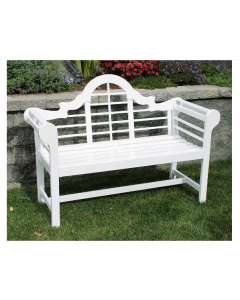 Lacquer Lutyen Outdoor Wooden Bench in White - ON BACKORDER UNTIL MID-JULY 2021