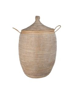 Large Lidded Basket with Handles - Available in Two Colors