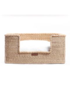 Large Natural Elephant Grass Basket with Fitted Cushion Dog Bed