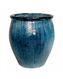 Large Outdoor Rimmed Garden Planter with Blue Glaze