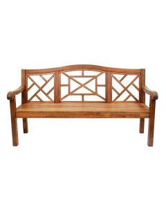 Large Lattice Outdoor Wooden Eucalyptus Wood Bench with Natural Oil Finish - ON BACKORDER UNTIL AUGUST 2021