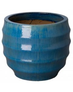Large Pupa Garden Planter with Tropical Blue Glaze