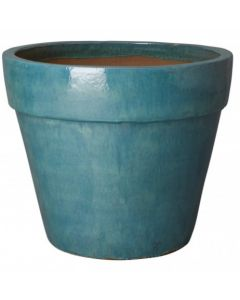 Large Round Flower Pot with Teal Glaze