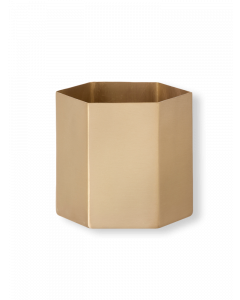 Large Solid Brass Hexagon Planter