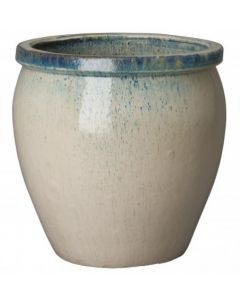 Large White Glossy Glazed Planter with Teal Accent