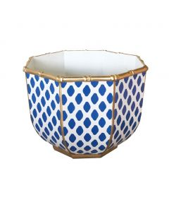 Large Bamboo Bowl in Parsi Navy With Gold Trim