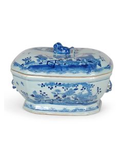 Large Blue and White Porcelain Tureen With Foo Dog Lid