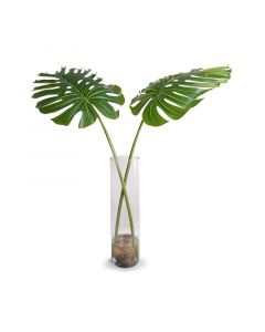 Large Faux Monstera Branches in Tall Glass Cylinder
