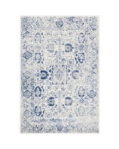 Lauren Blue and White Floral Abstract Rug - Available in a Variety of Sizes