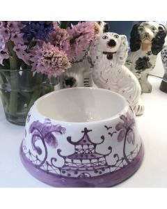 Lavender Chinoiserie Dog Bowl - Can be Personalized