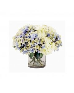 Faux Lavender and Cream Hydrangeas in a Tall Glass Container