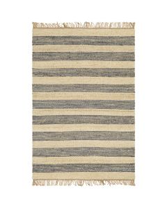 Layla Hand Woven Jute Navy Striped Area Rug - Available in a Variety of Sizes
