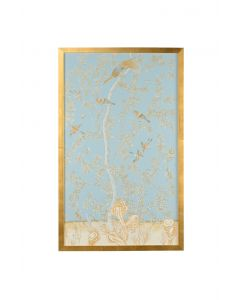 Light Blue Chinoiserie Birds Panel Wall Art With Gold Frame - LOW STOCK