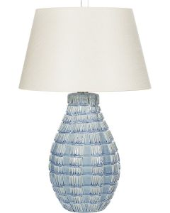 Light Blue Textured Ceramic Table Lamp with White Shade