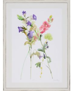 Limited Edition Pastel Watercolor Floral Study Wall Art in Whitewashed Frame