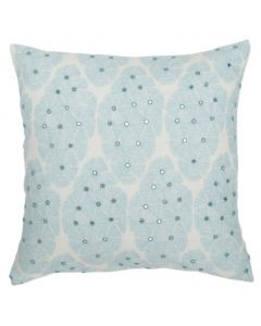 Linen Decorative Pillow with Floral Embroidery in Sky Blue