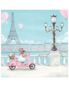Parisian Mouse on Vespa Pink and Blue Canvas Wall Art for Kids