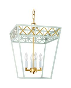 Blue and Gold 4-Light Tole Candlestick Lantern - LOW STOCK