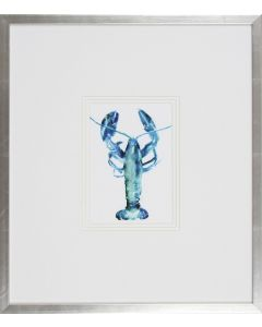 Blue Lobster Lithograph Wall Art in Silver Frame