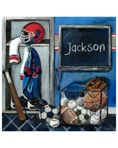 Sports Locker Room Personalized Canvas Wall Art for Kids