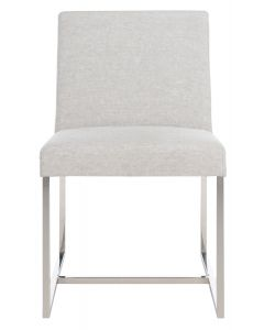 Contemporary Grey Linen Upholstered Dining Side Chair With Chrome Frame
