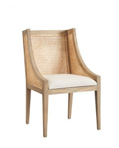 Loudoun Arm Chair with Caned Back and Linen Seat