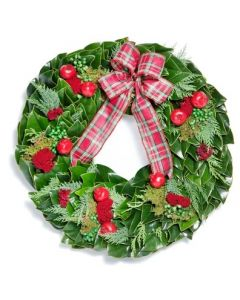 Magnolia and Noble Fir Wreath With Pomegranates and Plaid Ribbon