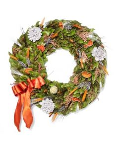 Magnolia Wreath With Feathers, Flowers, Quince & Orange Ribbon